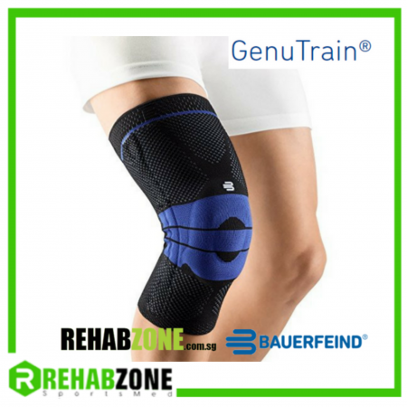 BAUERFEIND® Genutrain® Knee Support / Black-Blue Rehabzone Singapore
