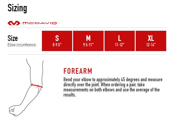 McDavid 482 Elbow Size Chart Full Rehabzone Singapore