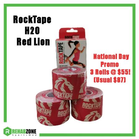 RockTape H2O Red Lion 3 Roll National Day Promo Rehabzone Singapore