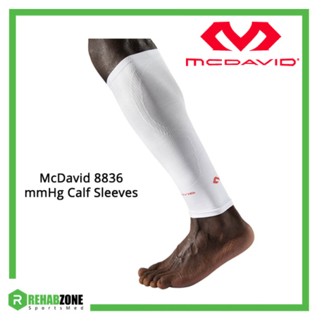 McDavid 8836 mmHg Calf Sleeves Pair (White) Frame Rehabzone Singapore
