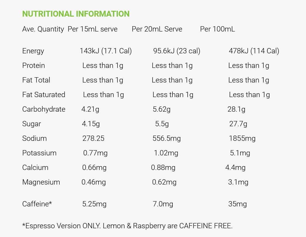 CrampFix Nutritional Information Rehabzone Singapore